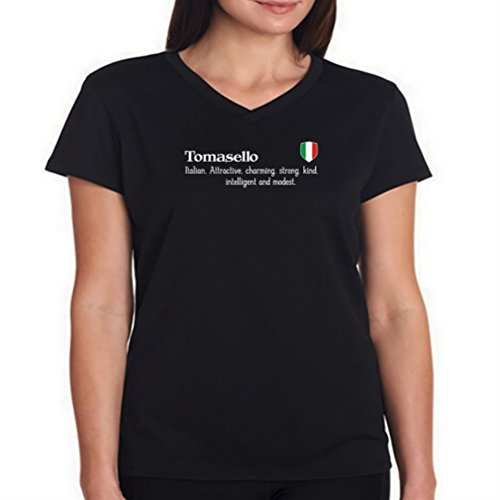 tomasello-attractive-charmin-strong-kind-intelligent-and-modest-damen-v-ausschnitt-t-shirt