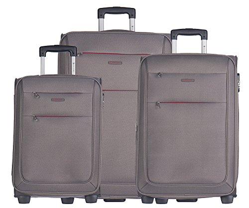 Koffer Reisekoffer Weichschalen Trolly Puccini Camerino 4 Größen 4 Farben (Grau (4), Set: Groß + Mittelgroß + Kabinenkoffer klein)