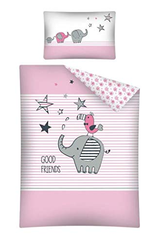 Baby Bettwäsche Set 2tlg. 100{d4704710c750c4bb3a479d924d6ee53f94f2bb1145a24aa3a479c08933c6ed68} Baumwolle Größe: 100x135 cm, 40x60 cm, ÖkoTex Standard 100 (Elefant Good Friends Rosa)