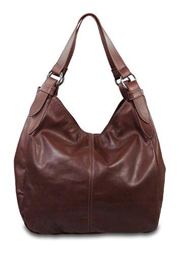 IO.IO.MIO.ital Nappa Leder Damen Handtasche XL Tasche Shopper Schultertasche Frauen Handtaschen Taschen Beuteltasche Tragetasche softig weiche Ledertasche braun, 36x34x14 cm (B x H x T)