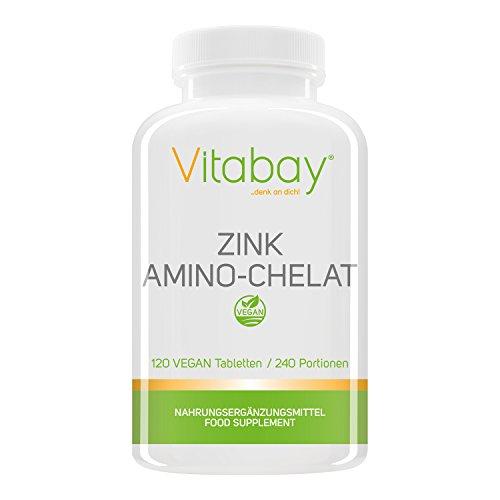 Zink Amino-Chelat 240 Portionen mit 15 mg Zink (Elementargehalt) pro halbe Tablette - hochdosiert - 120 Tabletten