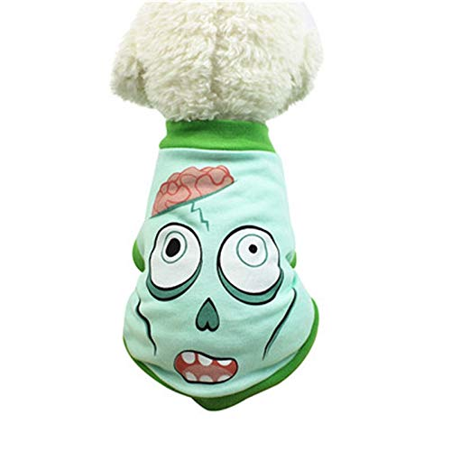 7°MR Sommer Winter Haustier Hund Weste T-Shirt Halloween Ghost Muster drucken Cute Pet T Shirts Kleidung Small Puppy Costume (Color : WHITE, Size : L)