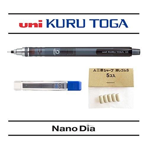 uni-ball-kuru-toga-05mm-self-sharpening-mechanical-pencil-smoke-barrel-single-12-free-leads-and-5-fr