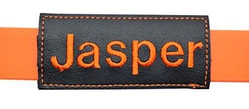 josi.li Halsbandtasche für Hundemarke mit Wunschname bestickt, Farbauswahl, pflegeleicht, Innenfach