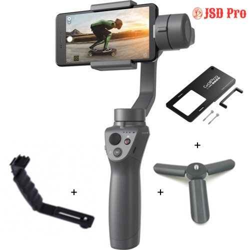 JSD PRO DJI Osmo Mobile 2 - Gimbal for Smartphone & Action Camera with Action Camera Mount Plate + Side Handle + Mini Tripod