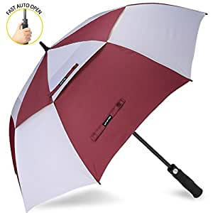 Automatic Open Golf Umbrella 68 Inch Oversize Extra Large Double Canopy Vented Windproof Waterproof Stick Umbrellas(Wine Red/White)