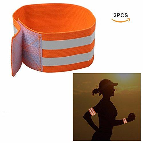 Pulseras reflectantes de noche de seguridad, EFORCAR Cinturón de brazo Nocturno Brazalete Correas de pierna para deportes al aire libre Running Cycling Jogging (Pack of 2) (naranja)