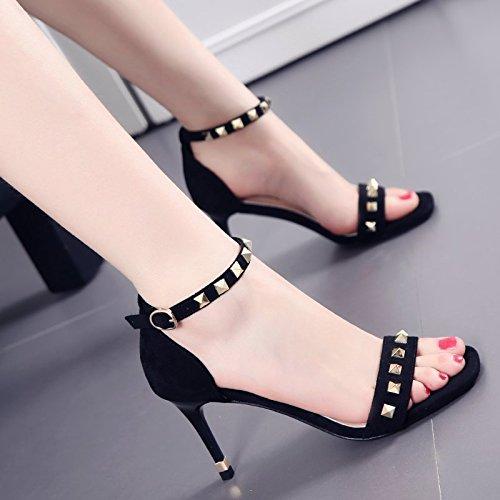 Fashion Square Word Gürtelschnalle Sandalen mit dünnen weiblichen Sommer Wildleder Niet Peep Toe Heels Tide Black