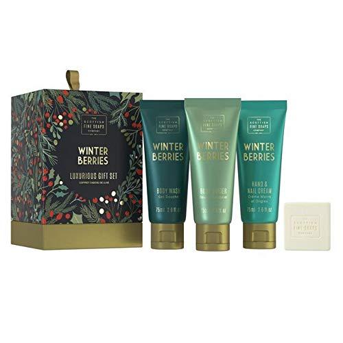 Scottish Fine Soap Winter Berries Lux Gift Set 3x75ml Tubes, 1x40g Soap, Drum -
