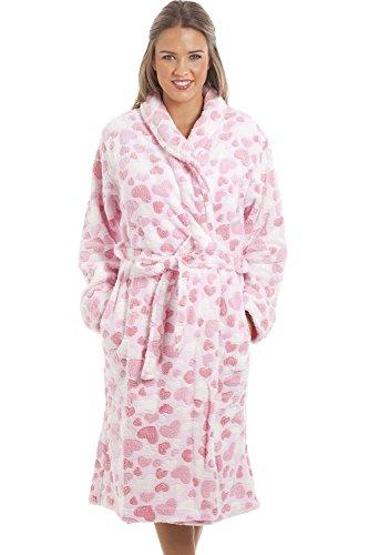 22b940cc0f1ec4 Camille - Damen Bademantel aus superweichem Fleecematerial - Pink mit  Herzmuste