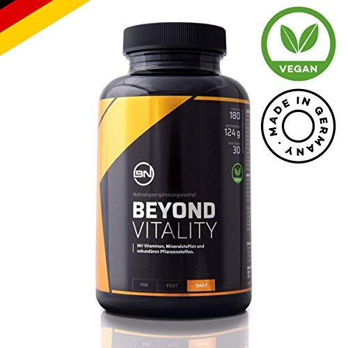 Beyond Vitality - Antioxidant Komplex der Spitzenklasse für Immunsystem, Leistungsfähigkeit und Fokus | hochwertige All-In-One Formel | 100% Vegan | 180 Kapseln - Made in Germany