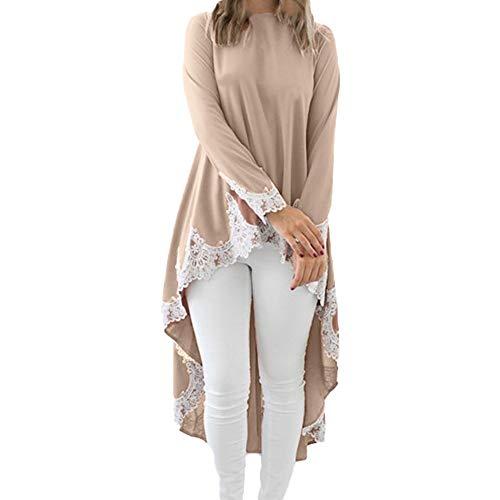 (Yvelands Frauen Unregelmäßige Rüschen Shirt Langarm Sweatshirt Pullover Tops Bluse)