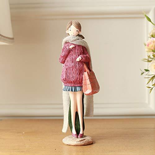 WDDqzf Dekoration Statuen Lehrer-Tagesgeschenk Nordic American Country Harz Resin Painted Doll Decoration Hauptdekorationen Senden Honey Friends Gifts, Ym631-2A Meisha Girl Deep Pink One (Doll Girl Möbel-american)