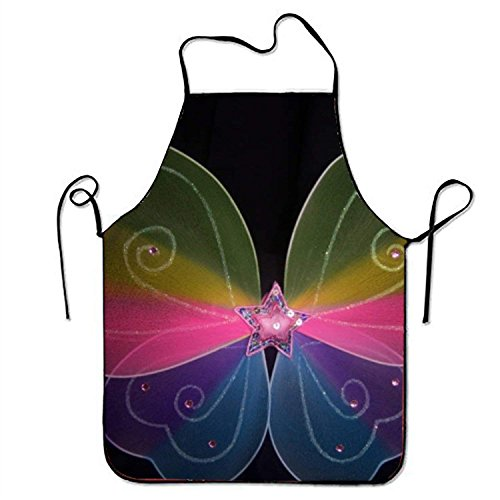 fengxutongxue Rainbow Fairy Princess Tinkerbell Or Butterfly Wings Kitchen Cooking Apron for Women and Men Adjustable Neck Strap Restaurant Home Kitchen Apron Bib for Cooking, BBQ