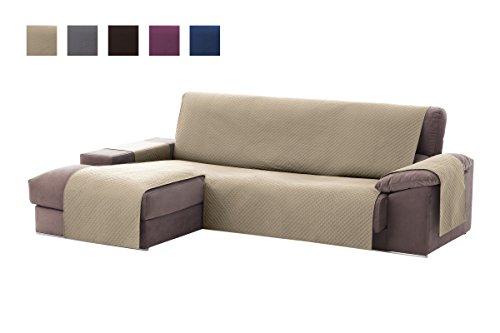 Textilhome - Copridivano Salvadivano Chaise Longe Adele - Color Beige -BRACCIOLO Destro - Protezione per divani Imbottiti - Dimencione 200cm -(Visto di Fronte).