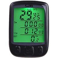 Odómetro digital LCD del velocímetro Sannysis cuentakilómetros bicicleta Impermeable, Velocímetro Retroiluminación Ciclismo (negro)