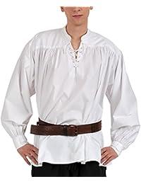 Mittelalter Piratenhemd mit Stehkragen, weiß, Größen S - XXL
