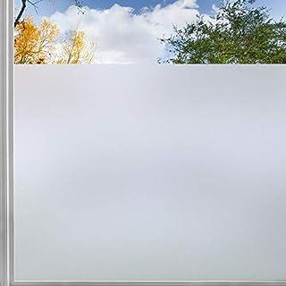 rabbitgoo Fensterfolie Milchglasfolie Sichtschutzfolie Selbstklebend Folie Fenster Scheibenfolie Blickdicht Anti-UV Statische Folie Matt Für Bad, Büro, Wohnzimmer weiß 44,5 x 200CM