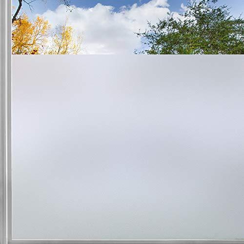 rabbitgoo Film fenetre Electrostatique Occulant Anti UV Film Adhesif Vitre Reutilisable Anti Regard Statique Dépoli, la Grille Design pour Couper, pour Bureau Salle de Bain Chambre Cuisine 45x200CM