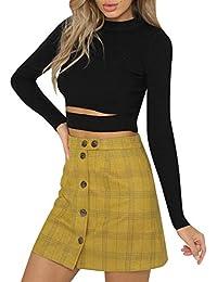 Terryfy Damen Minirock Elegant Kurz Kariert High Waist Sommer Rock Skirt Streetwear