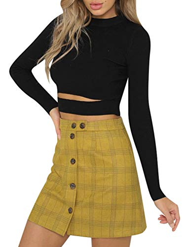 Terryfy Damen Minirock Elegant Kurz Kariert High Waist Sommer Rock Skirt Streetwear Gelb