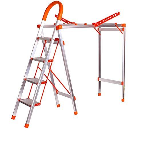 C-J-Xin Dual-purpose Leiter, Folding Kleiderbügel Hosen Wäscheständer Climbing Stehleitern Rahmen/Folding Dicke 6 cm/orange, weiß Haushaltsleiter (Color : Orange, Size : 24 * 150cm)