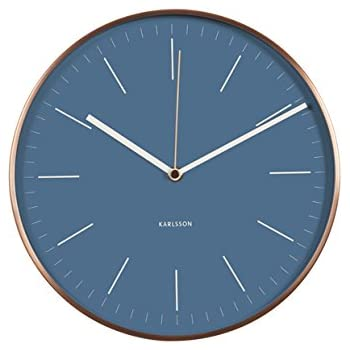 Minimal Wall Clock Blue Face With Copper Surround By