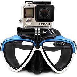 TELESIN amovible en verre de plongée en silicone avec support à vis Combinaison de plongée masque tuba de plongée Lunettes de natation pour caméra de sport GoPro HD Hero 233+ 4 Blue&White