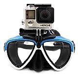 TELESIN Vetro da Immersione in Silicone con Maschera di Immersione a Scomparsa Maschera da Immersione da Nuoto per videocamera Sportiva GoPro HD Hero 2 3 3+ 4,4 Session,5 Session,5 Black(Blu Bianco)