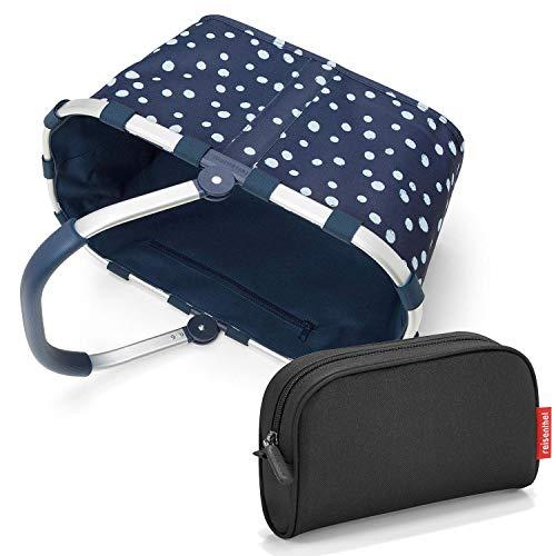 reisenthel carrybag Einkaufskorb Spots Navy Punkte blau Marine 48x29x28cm - Exklusiv-Set mit Kulturtasche Beautycase (Black schwarz)