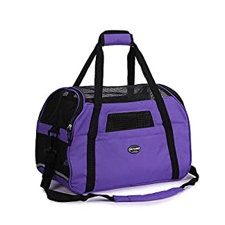 purple pet carrier for dogs cats comfort travel tote soft sided bag with mat Purple Pet Carrier for Dogs Cats Comfort Travel Tote Soft Sided Bag with Mat 41krCLX7b 2BL