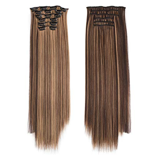 Ciel Lady Kostüm - Liusdh Synthetic Wigs Lange Glatte Haare Perücke 6 Sätze von nahtlosen Haarverlängerungen(G,one Size)