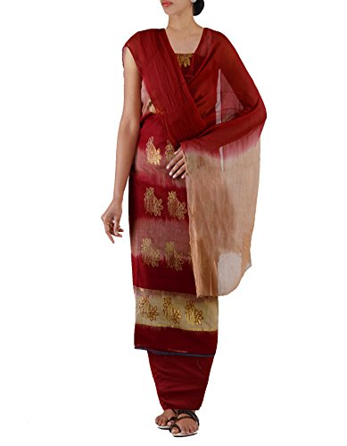 Unnati Silks Women Unstitched Maroon-Cream Pure Handloom Kanchi Cotton Salwar Kameez