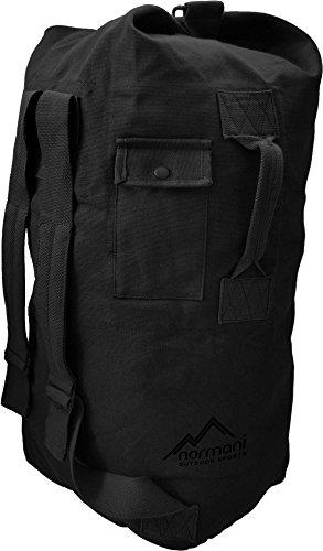 normani Seesack aus reißfestem Canvas-Material mit Doppelgurt und Metallverschluss - 100% Baumwolle Farbe Schwarz Größe 90 Liter