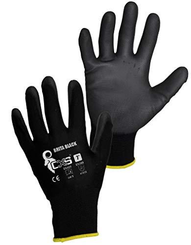CXS Brita Arbeitshandschuhe (12 Paar) - Rutschfeste Montagehandschuhe Nahtlos - Angenehmer, Ideal für Reparaturen, Feinarbeiten, Automobilindustrie, Autoservice, Werkstatt (Schwarz, 7) (Kinder-gummi-handschuhe)