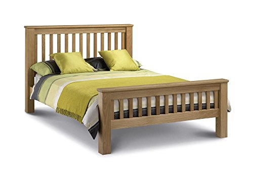 Happy Beds Amsterdam Bed High Foot End Oak Wood Frame 6' Super King Size 180 x 200 cm
