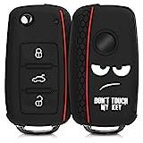 kwmobile Funda para Llave de 3 Botones para Coche VW Skoda Seat - Carcasa Protectora Suave de Silicona - Case de Mando de Auto con diseño Don't Touch my Key