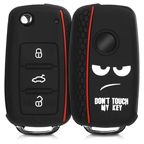 kwmobile Autoschlüssel Hülle für VW Skoda Seat - Silikon Schutzhülle Schlüsselhülle Cover für VW Skoda Seat 3-Tasten Autoschlüssel Don\'t Touch My Key Design Weiß Schwarz Rot