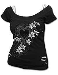 Spiral Women - Pure Of Heart - 2in1 White Ripped Top Black