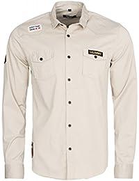 CARISMA 2-Pocket Hemd Herren Freizeit-Hemd Langarm-Hemd Beige US-Army