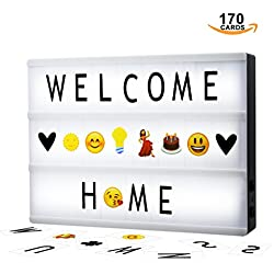 Cinematic Light Box A4 Solotree Caja de Luz Cinematográfica Tamaño A4 con 85 Letras y 85 Emojis ideal para decorar su hogar, boda, cumpleaños y otros eventos especiales