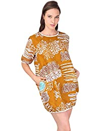 European Print Loose Day Dress- Beige