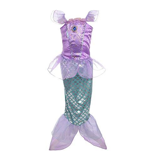 Lito Angels Mädchen Prinzessin Meerjungfrau Kostüme Märchen Kleid Verkleidung Party Kleid Gr. 6-7 Jahre Violett (Mädchen Meerjungfrau Kleid Kostüm)