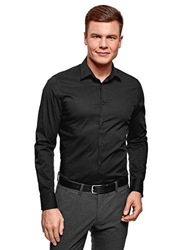 oodji Ultra Herren Langarm-Hemd Basic, Schwarz, Herstellergröße 41 (Kragenweite 41 cm)/DE 50/M