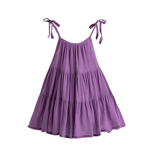 y Mädchen Outfits,Ärmelloses einfarbiges Sling-Kleid für Kinder Kleid Rosa ()