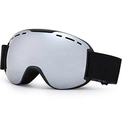 Snowboardbrillen Skibrille mit Anti-nebel Hochelastischer schwarzer Spiegelgürtel Doppel-Objektiv UV-Schutz PC Material + Vakuum REVO Beschichtung für Damen Herren und Jungen