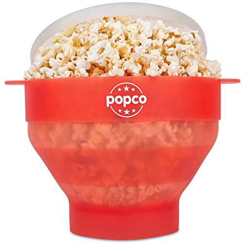 Popco Popcorn-Popper aus Silikon für die Mikrowelle mit Griffen, Popcorn-Maker aus Silikon, faltbar, BPA-frei und spülmaschinenfest transparent/rot
