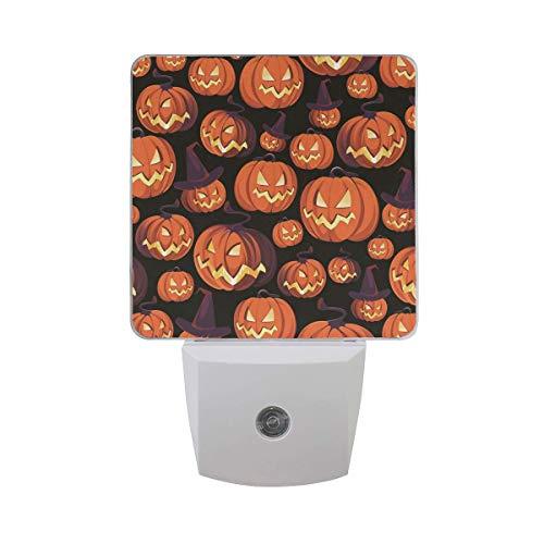 DFISKK Nachtlicht Halloween Pumpkin Jack-O-Lantern 2 Pack 0.5W Plug-in LED Night Light Lamp with Dusk to Dawn Sensor, Night Home Decor Bed Lamp (Jack O Lantern Lights)
