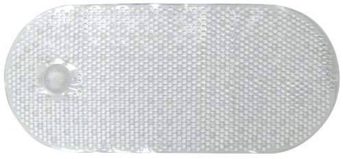 Ginsey Vinyl Bath Mat with Hair Catcher, White 14' x 34' by Ginsey Home Solutions - 14' Vinyl