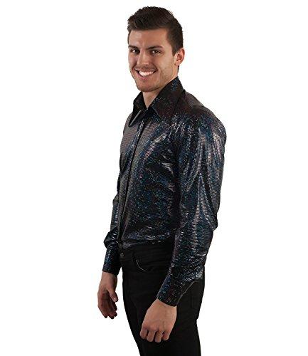 Disco Glitter 70er Jahre Partyhemd schwarz Schwarz